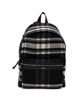 Black & Off White Wool Check City Backpack by Saint Laurent