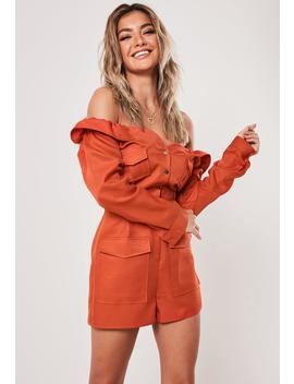 Rust Off The Shoulder Utility Romper by Missguided