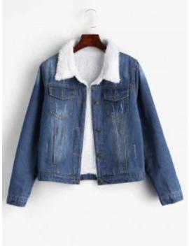 Fuzzy Lining Denim Jacket   Denim Blue M by Zaful