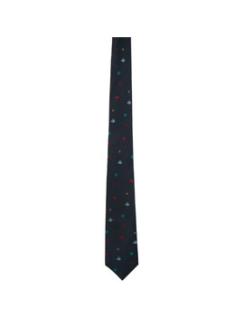 Navy Silk Symbols Tie by Gucci