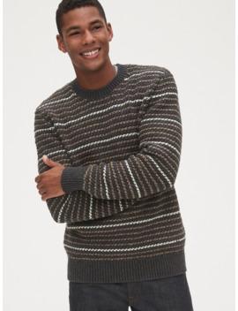 Chunky Textured Stripe Crewneck Sweater by Gap