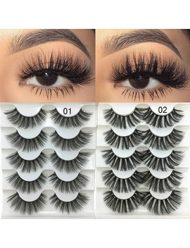 Skonhed 5 Pairs Woman Handmade Wispy Flared Natural 3 D Faux Mink Hair Crisscross False Eyelashes Eye Lash Extension by Wish
