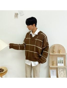Seoul Homme   V Neck Oversized Checked Sweater by Seoul Homme