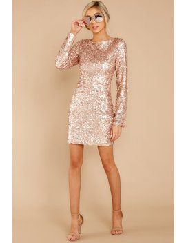 Break Of Dawn Rose Gold Sequin Dress by Just Me