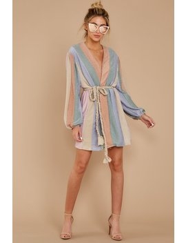 Sparks Fly Mauve Pink Multi Stripe Dress by Aura