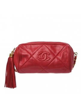 Chanel Lambskin Quilted Tassel Small Camera Case Red by Chanel