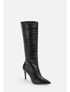 Black Mock Croc Mid Heel Knee High Boots by Missguided