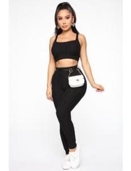 Regina Cable Knit Set   Black by Fashion Nova