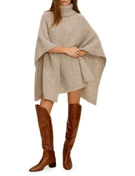 Knit Wool Blend Poncho by Mango