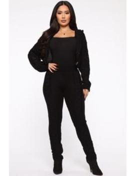 And There You Have Knit Pant Set   Black by Fashion Nova