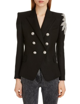 Crystal Embellished Double Breasted Blazer by Balmain