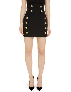 Button Grain De Poudre Skirt by Balmain