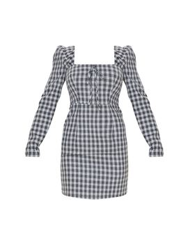 Black Check Square Neck Shift Dress  by Prettylittlething