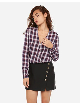 Plaid Print Surplice Open Back Banded Top by Express