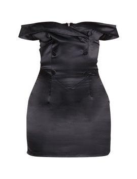 Black Satin Button Detail Bardot Bodycon Dress  by Prettylittlething