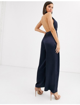 Asos Design Satin Jumpsuit With Halter Neck And Wide Leg by Asos Design