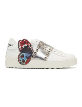 White Undercover Edition Valentino Garavani Open Rockstud Sneakers by Valentino