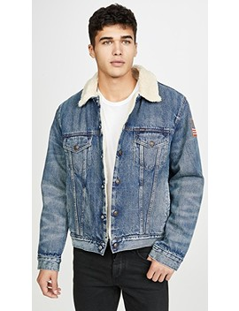 Sherpa Collar Trucker Jacket With Patches by Polo Ralph Lauren