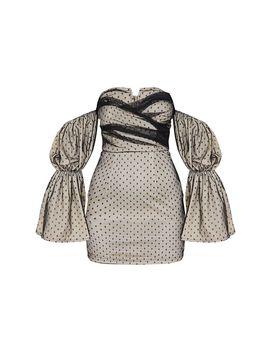 Black Dobby Mesh Bardot Puff Sleeve Bodycon Dress by Prettylittlething