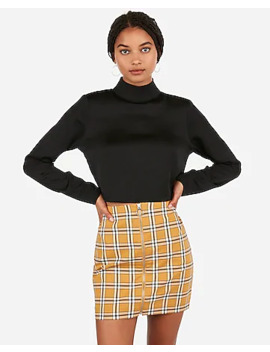 High Waisted Plaid Zip Front A Line Mini Skirt by Express