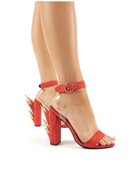 Charged Red Statement Block Heeled Barely Theres by Public Desire