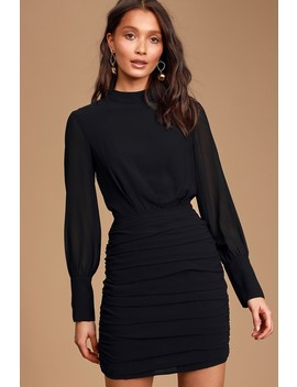 Major Inspo Black Ruched Long Sleeve Mini Dress by Lulus