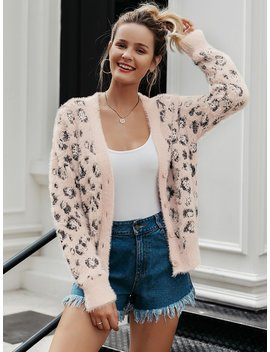 Simplee Leopard Button Front Fuzzy Cardigan by Sheinside
