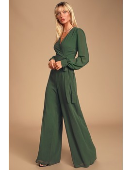 Latest Thing Forest Green Surplice Long Sleeve Jumpsuit by Lulus