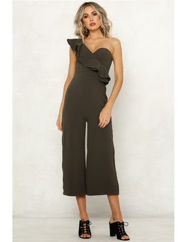 Guest List Jumpsuit Khaki by Hello Molly
