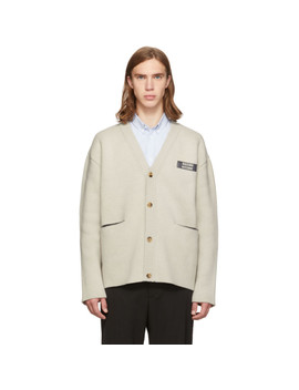 Off White Two Tone Cardigan by Maison KitsunÉ