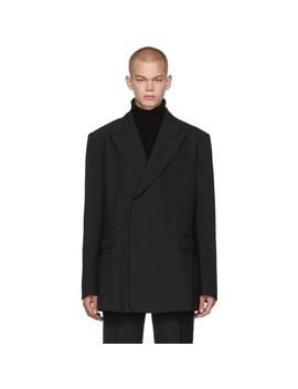 黑色合身双排扣西装外套 by Raf Simons