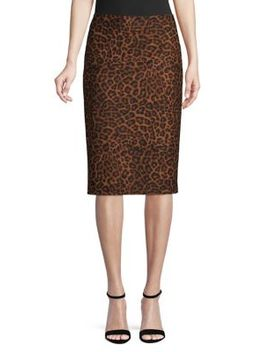 Leopard Print Midi Pencil Skirt by Lord & Taylor
