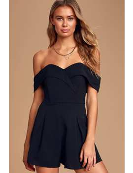 Center Of My World Black Off The Shoulder Romper by Lulus