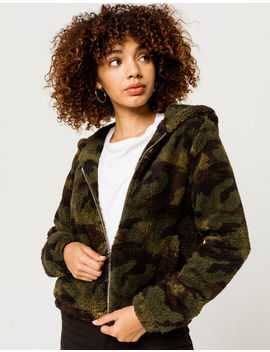 Full Tilt Cozy Camo Green Womens Zip Hoodie by Full Tilt