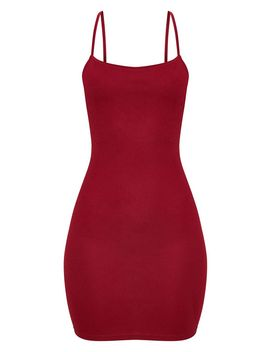Burgundy Strappy Straight Neck Bodycon Dress by Prettylittlething