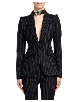 Pinstriped Flannel One Button Jacket by Alexander Mc Queen