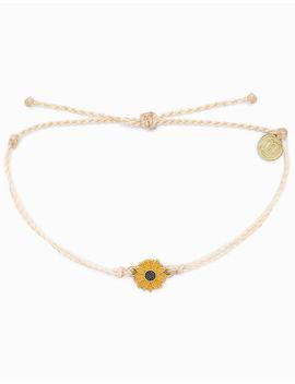 Pura Vida Sunflower Charm White Bracelet by Pura Vida
