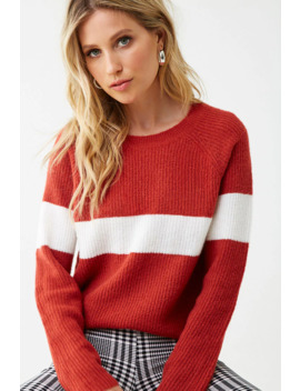 Brushed Striped Trim Sweater by Forever 21