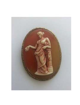 Vintage Orange Grecian Lady Leaning On Column Oval Cameo 2.5 Inches Brooch Pin by Etsy
