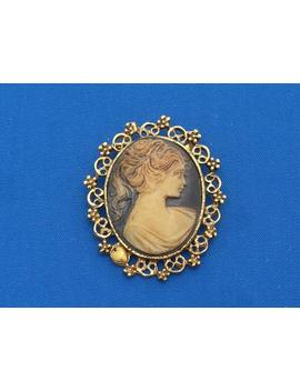 Cameo Brooch   Plastic   Vintage by Etsy