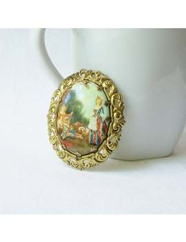 Vintage Cameo Pin, Vintage Western Germany Cameo Brooch by Etsy