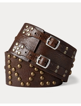 Studded Leather Wide Belt by Ralph Lauren