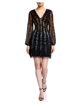 Sequined Multi Ombre Stripe V Neck Long Sleeve Mini Dress by Aidan By Aidan Mattox