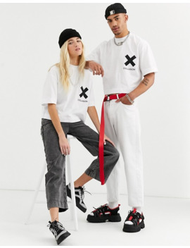 Collusion Unisex Cropped T Shirt In White With Logo Print by Collusion