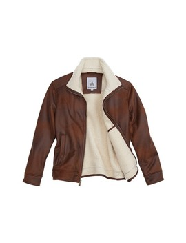 Faux Shearling Lined Leather Aviator Jacket by Rainforest