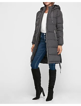 Long Zip Puffer Coat by Express
