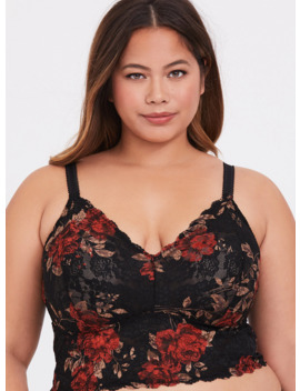 Black & Red Floral Lace Bralette by Torrid