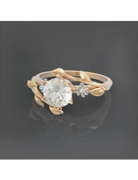 Unique Two Tone Engagement Ring, Brilliant Moissanite Ring, 14k Gold Ring, Unique Flower Engagement Ring, Nature Inspired Ring, Roelavi by Etsy