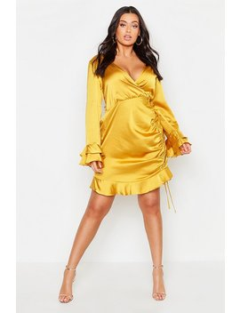Plus Satin Ruched Flare Sleeve Frill Dress by Boohoo