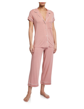 Gisele Cropped Two Piece Jersey Pajama Set by Eberjey